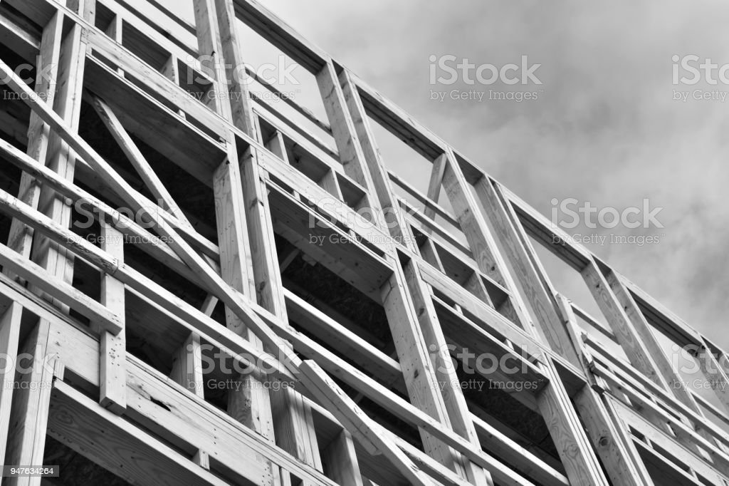 Building Frame in Black and White stock photo
