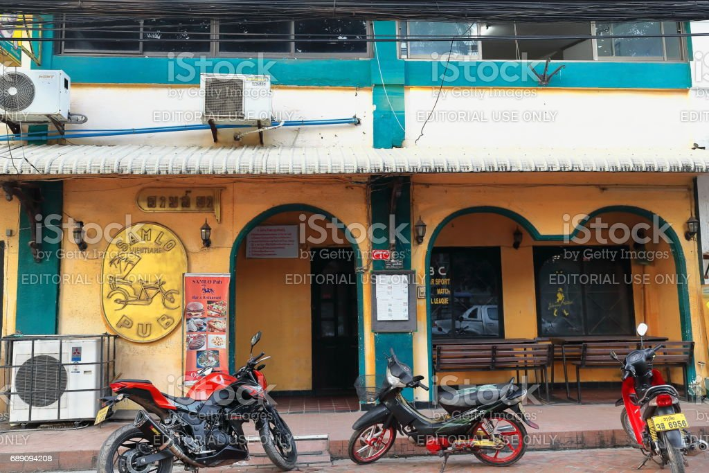 Building from the French colonial era. Downtown Vientiane-Laos. 4809 stock photo