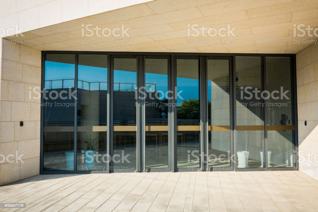 building glass entrance stock photo
