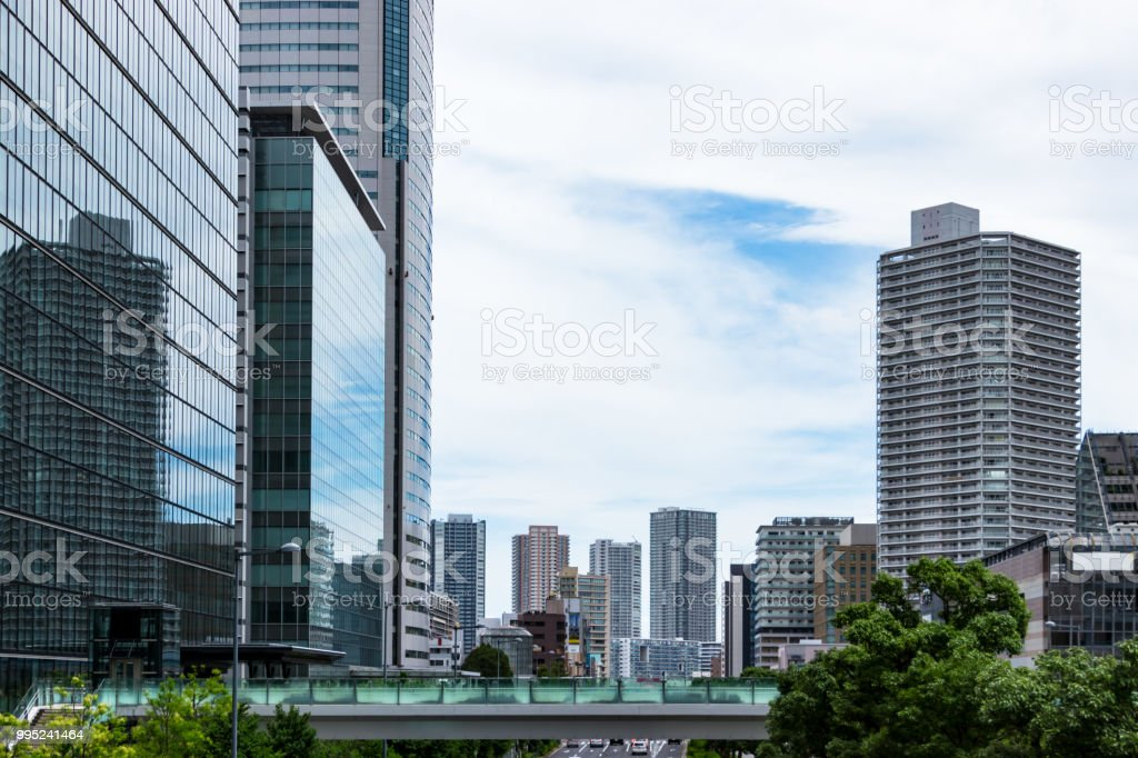 Building group of Tatsumi seen from Toyosu stock photo