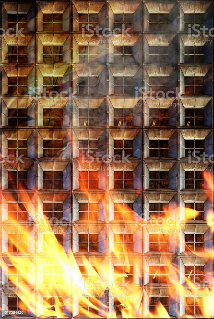 Building in fire stock photo