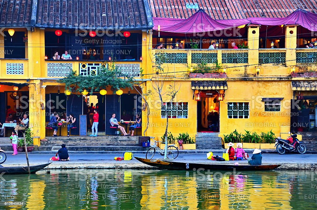building in Hoi An at Vietnam on January 9, 2014 royalty-free stock photo