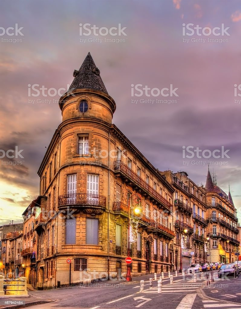 Building in the city center of Beziers - France stock photo