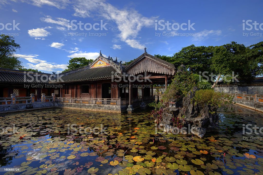 Building in the Imperial City of Hue, Vietnam stock photo