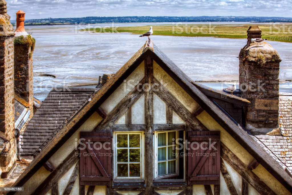 Building in the Village of Saint Michael's Mount, Normandy, France stock photo