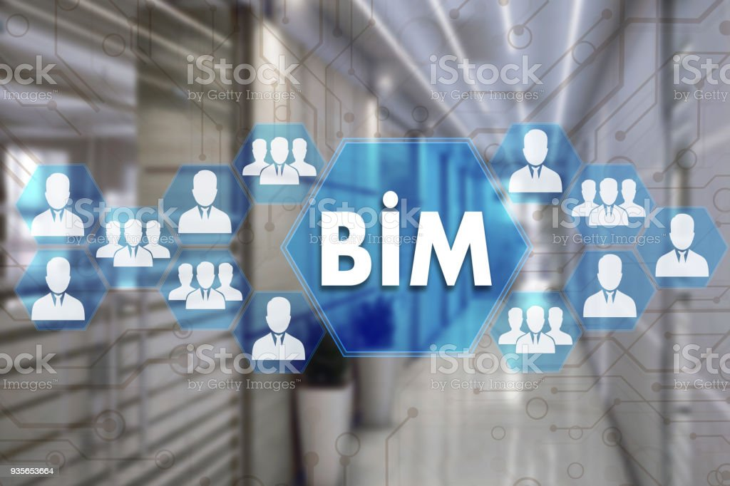 Building Information Modeling. BIM  on the touch screen with a blur background of the office.The concept of Building Information Model  BIM stock photo