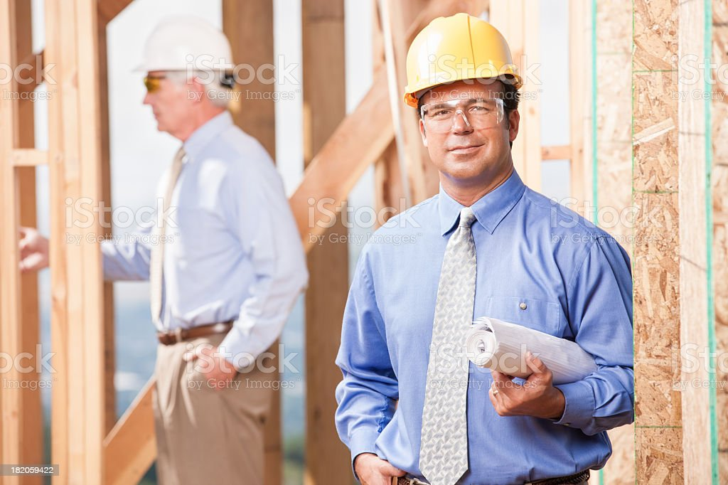 Building Inspector on Job Site stock photo