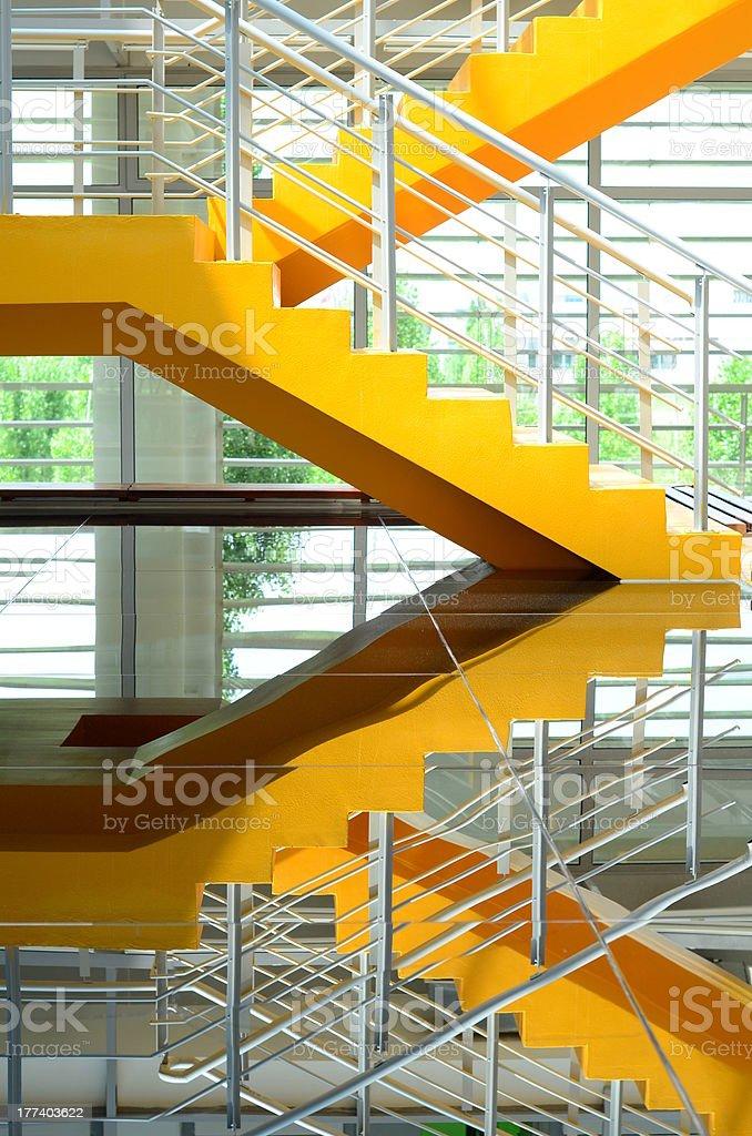 building interior stairs stock photo