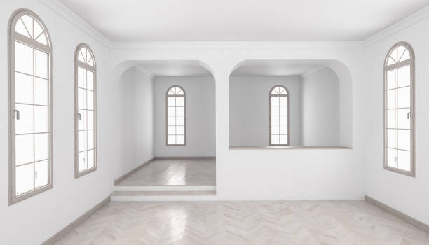 Building Interior with a Separated Raised Floor and Chevron Parquet stock photo