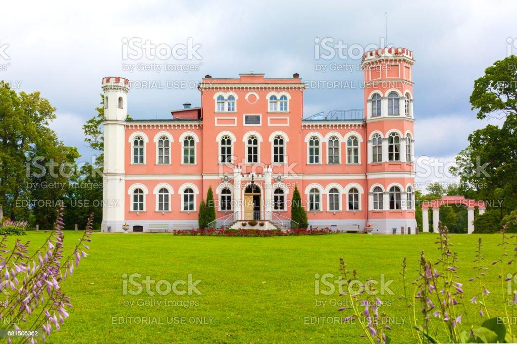 Building is a former noble mansion Birini, Latvia. stock photo