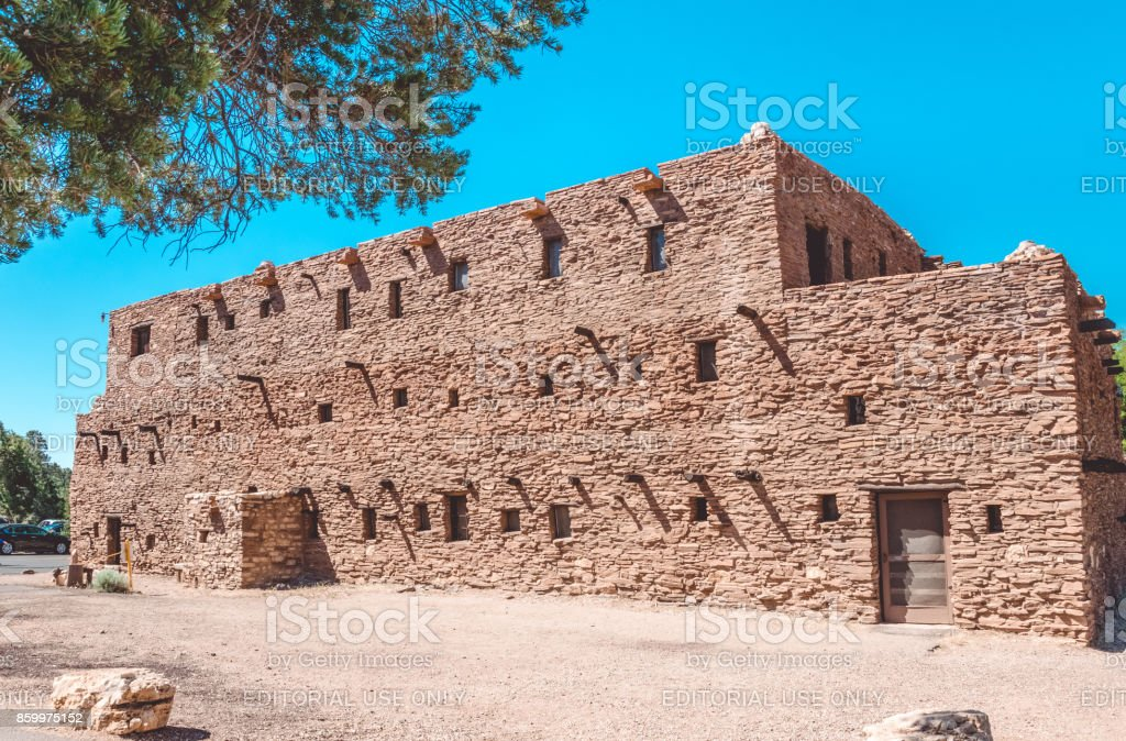 Building is in the style of ancient buildings of the Hopi Indians. Attractions Grand Canyon Village and Grand Canyon National Park stock photo
