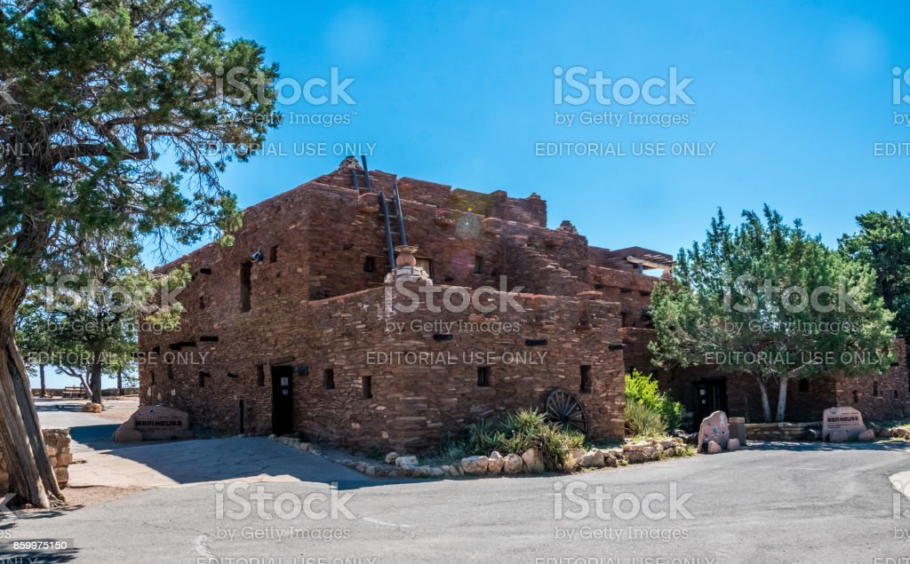 Building is in the style of the ancient buildings of the Hopi Indians. The attraction is the Grand Canyon Village stock photo