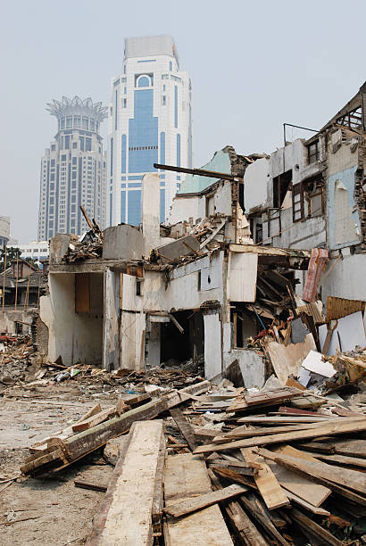 building lot, shanghai old and new abridgment stock pictures, royalty-free photos & images