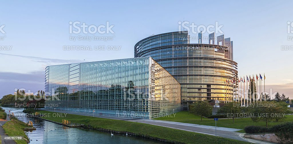 Building 'Louise Weiss' of European Parliament stock photo