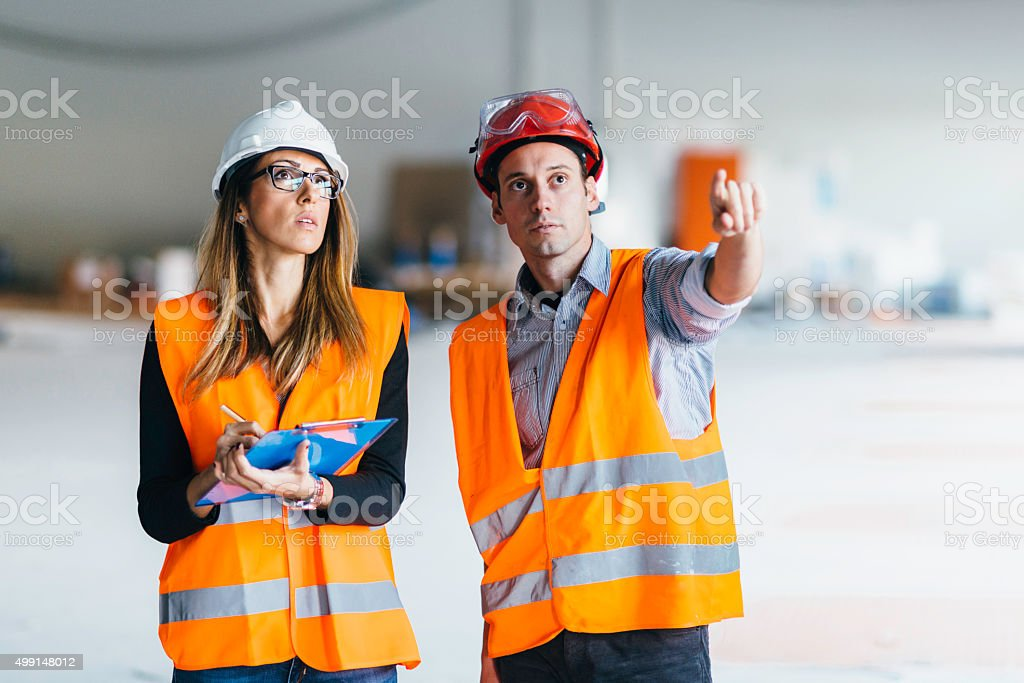 Building maintenance technicians at work stock photo