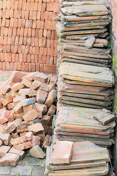 Building materials piled in a corner. Royal Palace-Bhaktapur-Nepal. 0252 stock photo