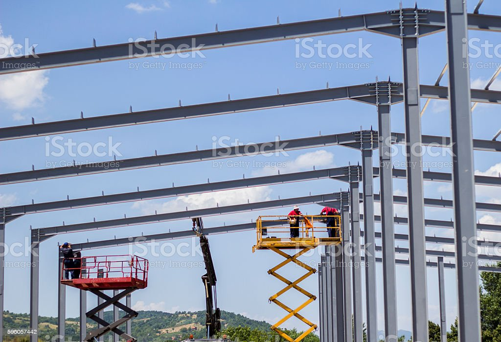 Building metal construction for factory hall. royalty-free stock photo