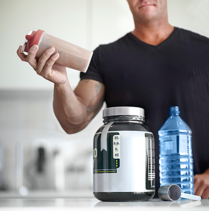 Building Muscle With Protein Shakes Stock Photo - Download Image Now - iStock