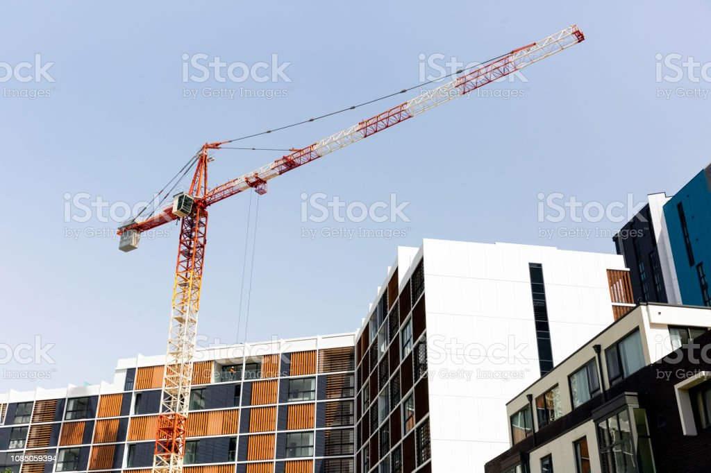 Building new apartment block, background with copy space, full frame...