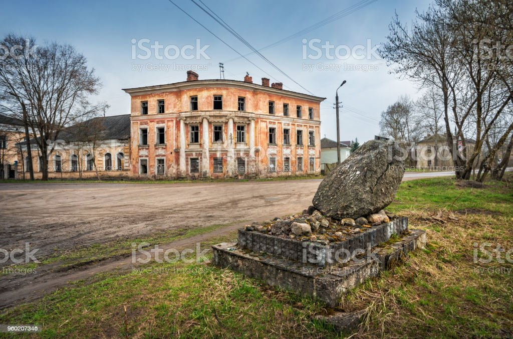 building of a city manor and a stone stock photo