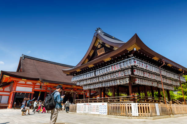 Building of a dance stage with hundreds of lanterns at Yasaka or Gion Shrine, a Shinto shrine located between the Gion and Higashiyama District of Kyoto, Japan stock photo