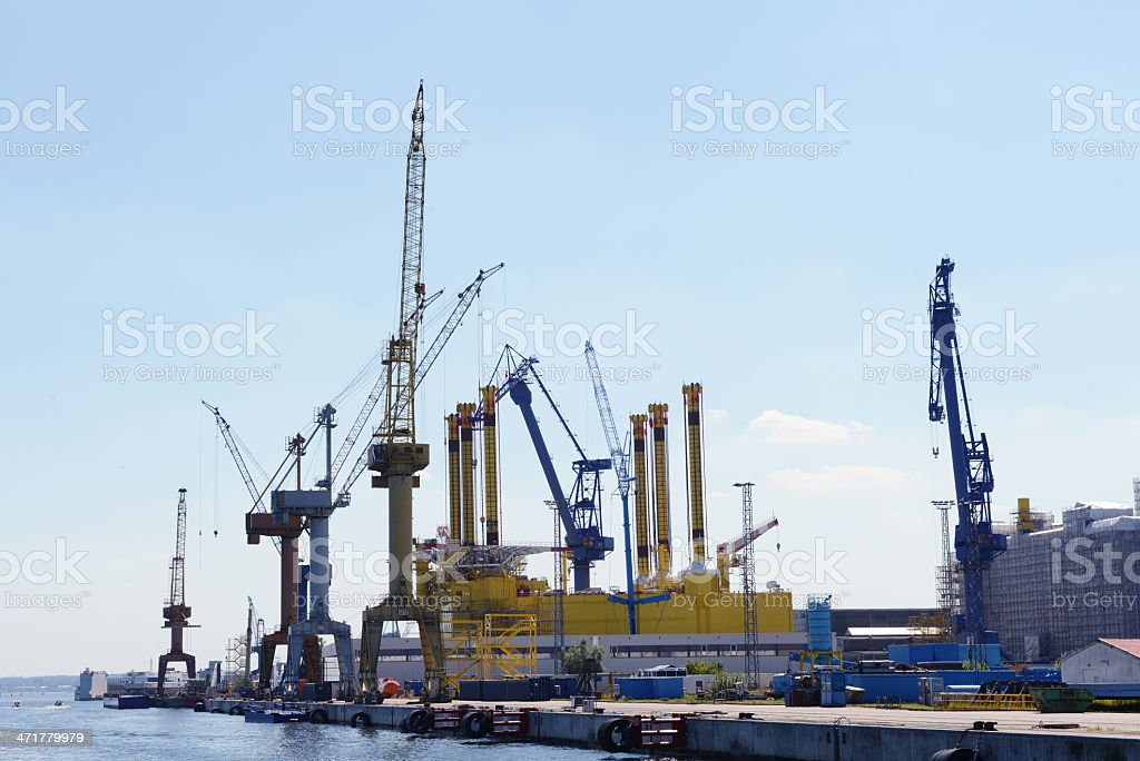building of a gas oil rig in dockyard royalty-free stock photo