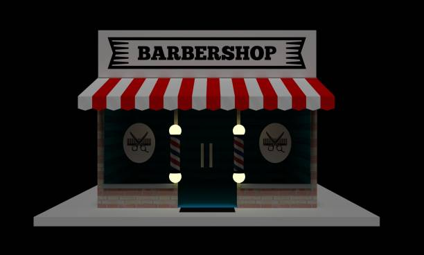 Building of a hairdresser on a black background at night. Barbershop. 3D illustration. stock photo