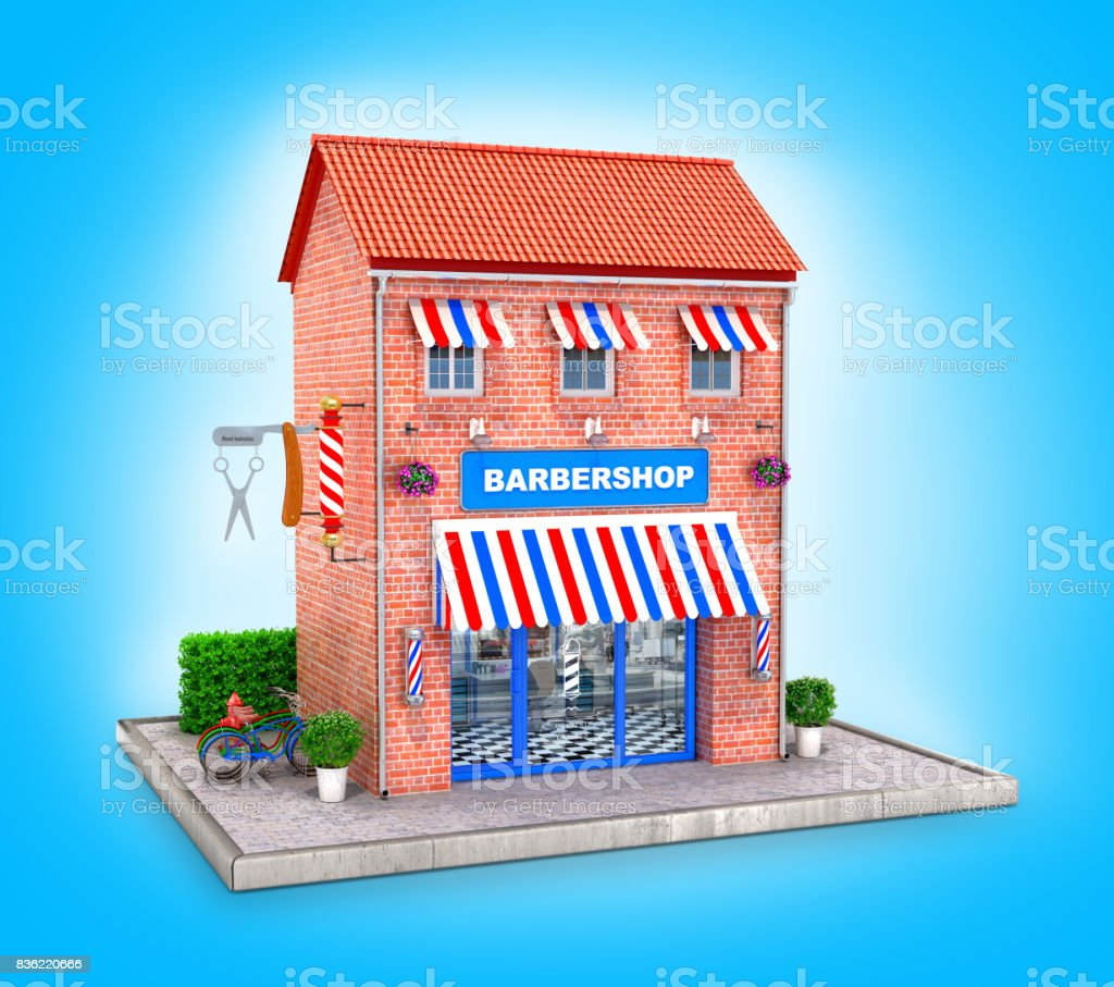 Building of a hairdresser with elements exterair on a blue background stock photo
