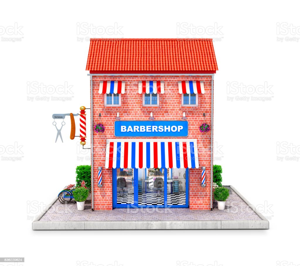 Building of a hairdresser with elements exterair stock photo