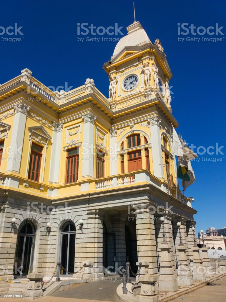 Building of central station of metro at downtown of Belo Horizonte City, Brazil stock photo