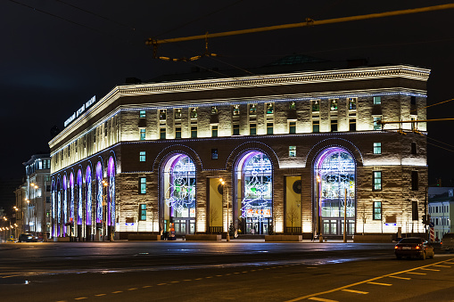 Moscow, Russia - December 6, 2015: building of Detsky Mir Department store in night. Detsky mir shop (Children's World - Central Children's Store) on Lubyanka Square was reopened in 2015.