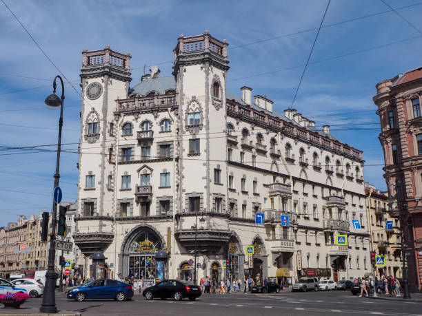 Building of famous Andrey Mironov Russian Enterprise Theatre 06.20.2019. Saint-Petersburg, Russia. Building of famous Andrey Mironov Russian Enterprise Theatre located on Kamennoostrovsky avenue. entreprise stock pictures, royalty-free photos & images