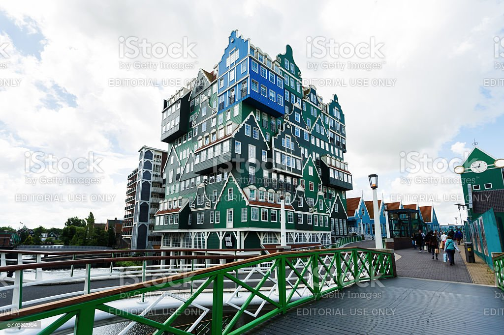 Building of Inntel hotel in Zaandam, Netherlands stock photo
