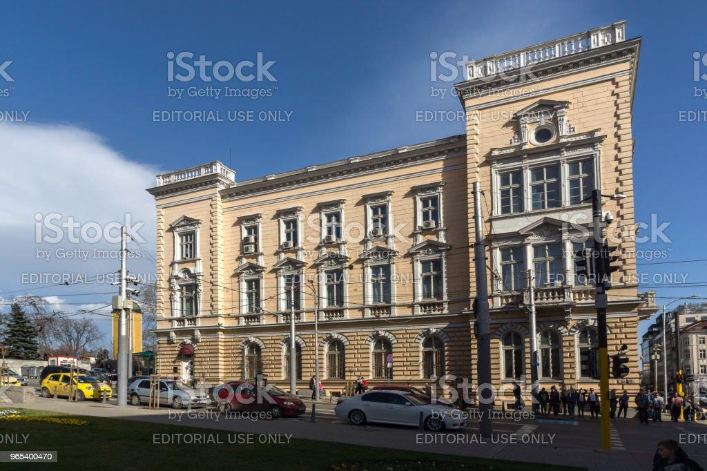 Building of Military Club in center of city of Sofia, Bulgaria zbiór zdjęć royalty-free