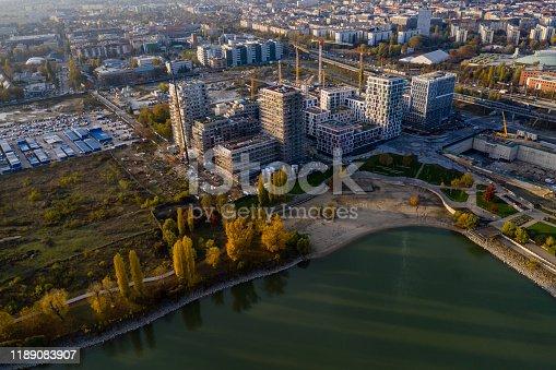 Construction Industry, Construction Site, Crane, drone view