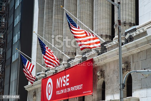 New York, USA - May 09, 2018: Flags and advertisement banner on the building of New York Stock Exchange. NYSE is the famous stock exchange as the share of Dow Jones and S&P500 are traded there.
