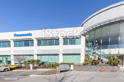 Mountain View, California, USA - March 28, 2018: Building of Panasonic on the office building in Mountain View, California. Panasonic Corporation is a Japanese multinational electronics corporation.
