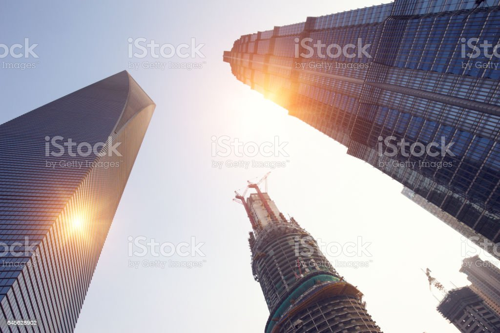 building of Shanghai Tower stock photo