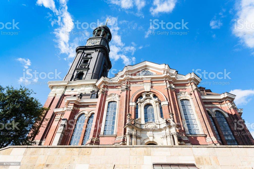 building of St Michael's Church in Hamburg stock photo