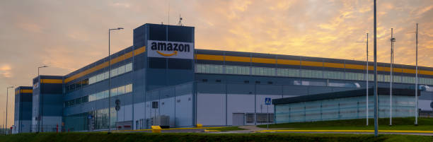 Building of the Amazon logistics center in Szczecin at dawn