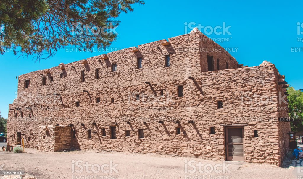 Building of the ancient Indians of the Hopi tribe. Attractions Grand Canyon Village and Grand Canyon National Park stock photo