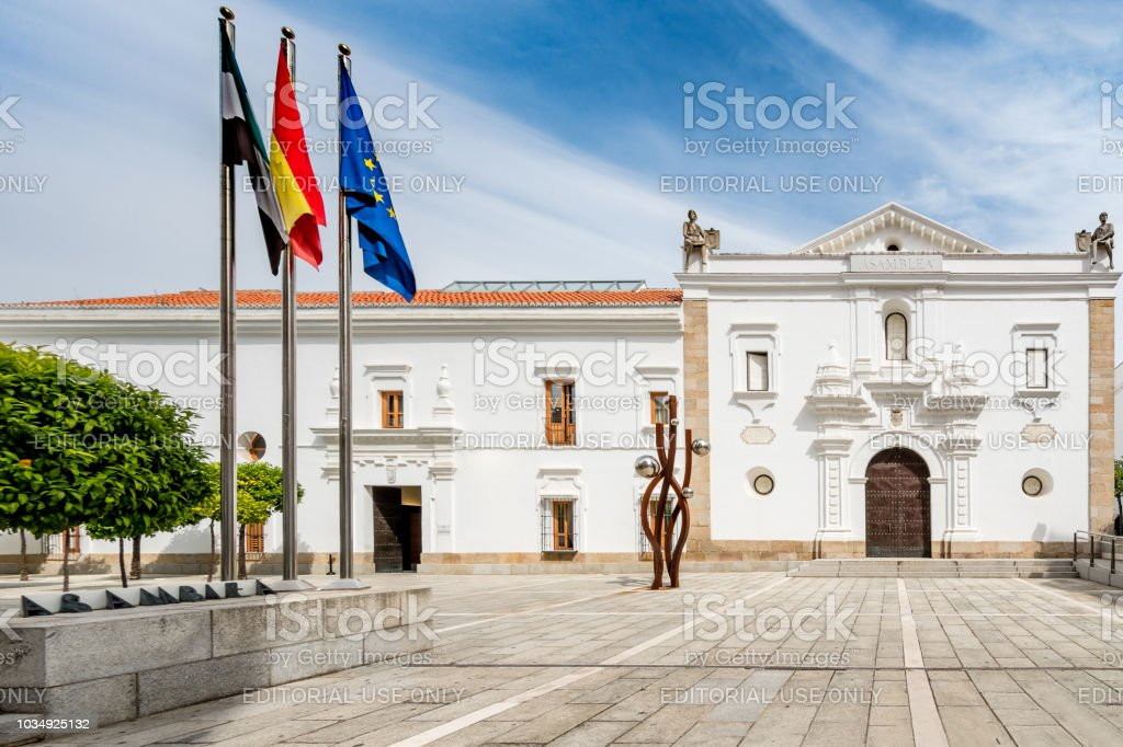 Building of the Assembly of Extremadura, government of the autonomous community of Extremadura located in Merida. stock photo