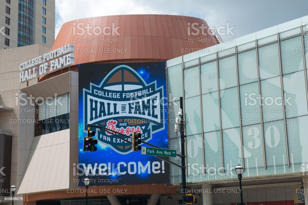 Building of the College Football Hall of Fame in downtown Atlanta stock photo