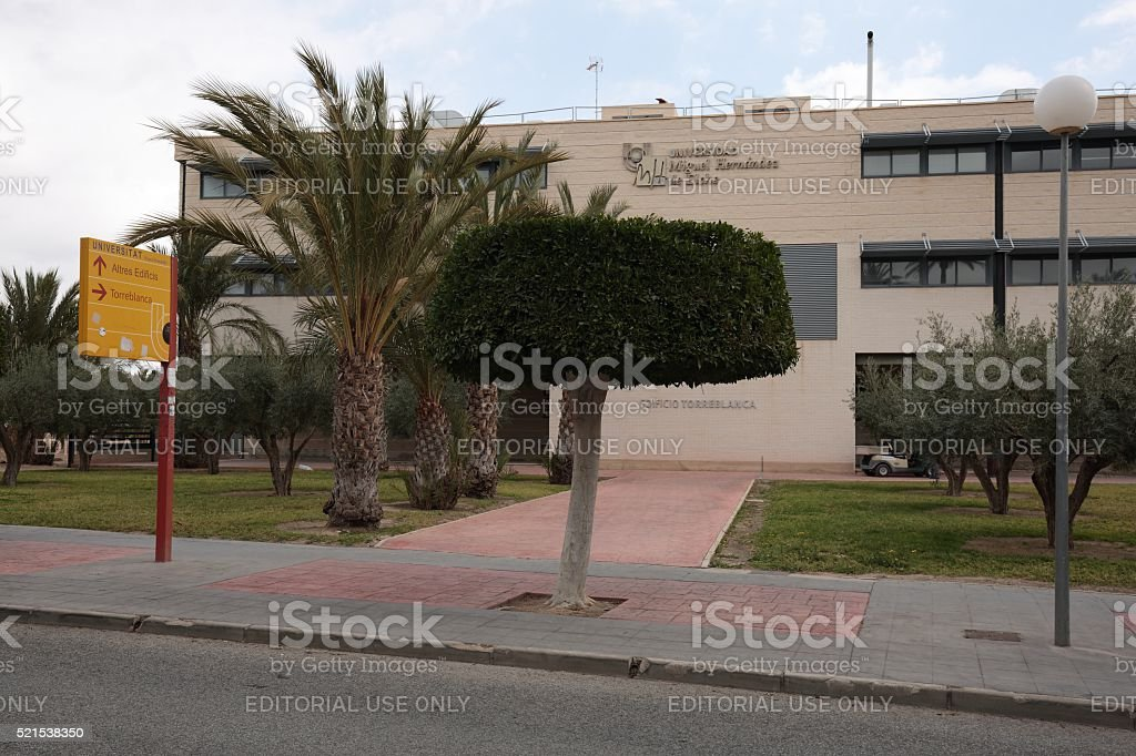 Building of the Miguel Hernández University of Elche. stock photo