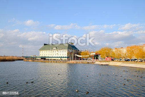 istock building of the Park-Hotel-Uyut entertainment center on the lake in the town of Slavyansk-on-Kuban. 884122254