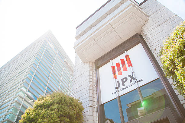 Building of the Tokyo Stock Exchange Tokyo, Japan - April 23, 2015: Building of the Tokyo Stock Exchange in Tokyo, Japan. fx network stock pictures, royalty-free photos & images