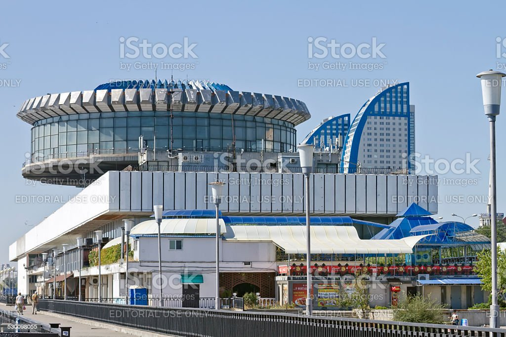 Building of the Volgograd river port stock photo