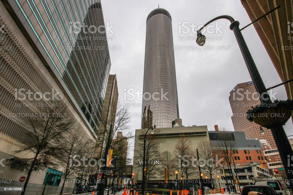Building of Westin Peachtree Plaza Hotel. With 220 m height it is one of tallest hotels all over the world. stock photo