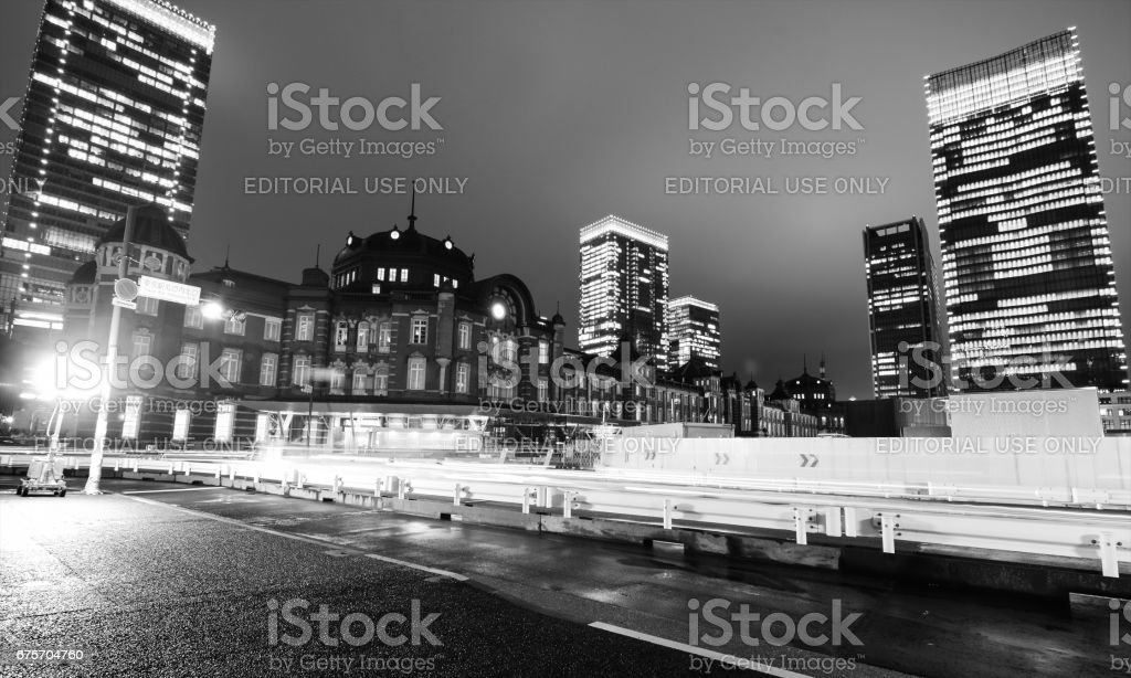 Building office lights glow at night near Tokyo Station in the heart of the sleepless metropolitan city royalty-free stock photo