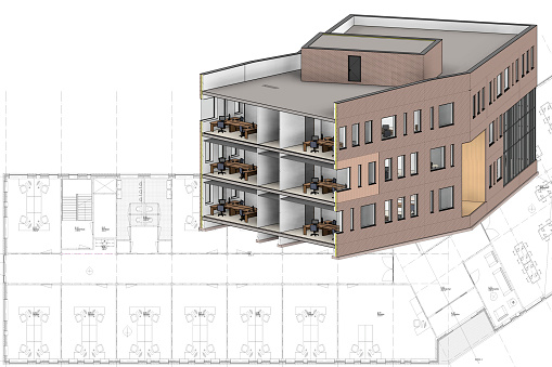 A building in 3D on a construction drawing. In the top left corner is an empty space for your logo, text or something else.